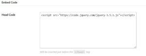 EmbedCode Plugin HEAD code