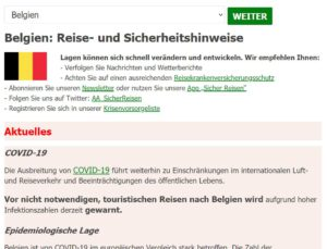 Darstellung der Daten des Auswärtigen Amts in WordPress